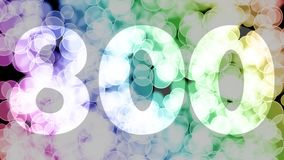 Seven hundreds ninety nine to eight hundreds points, level, rank fade in/out animation with color gradient moving bokeh background