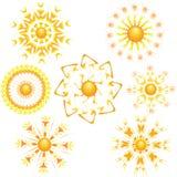 Seven icon of bright sun. Royalty Free Stock Photos