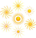 Seven icon of sun stock image
