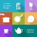 Seven icons of kitchen utensil Royalty Free Stock Photography