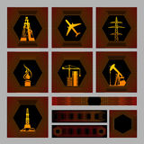 Seven icons pack with bagrounds. There are Images: drilling rig, aircraft, high-volt pylons, gas source, a tower crane, oil pump, drill tower. Also four Royalty Free Stock Photos
