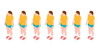 Seven identical girls show the process of losing weight. royalty free illustration