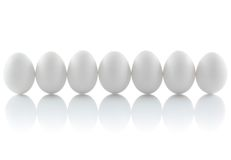 Seven isolated chicken eggs. In a row Stock Photos