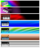 Seven Keyboards Music Banners or Headers Stock Photography