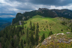 Seven Ladders Canyon and Piatra Mare. The seven ladders canyon hike is popular hike near Brasov stock photography