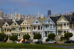 Seven Ladies. Postcard Row Houses, San Francisco, California Stock Images