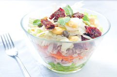 Seven-layer salad with egg, tuna, dried tomatoes Stock Image