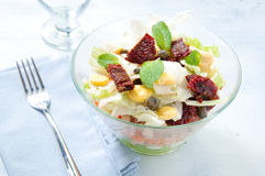 Seven-layer salad with egg, tuna, dried tomatoes Royalty Free Stock Photo