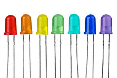 Seven LEDs of different colour Royalty Free Stock Photo