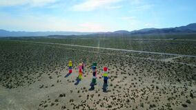 Seven magic mountains art Ivanpah, colourful, stacked boulders, aerial view
