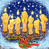 Seven magical Christmas candle in a candlestick. Raster illustration Stock Image