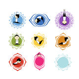 Seven main chakras, sketch foy your design Royalty Free Stock Images