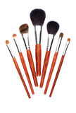 Seven makeup brushes on white background Stock Image