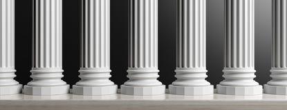 Seven marble pillars on black background. 3d illustration. Marble classical pillars row on black background. 3d illustration Royalty Free Stock Photo