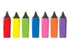 Seven marker pens. Six colourful cartoon marker pens Stock Image