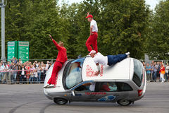 Seven members from stuntmen team Avtorodeo Togliatti Trick Stock Image