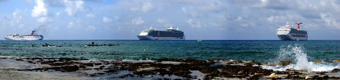 Seven Mile Beach. Panoramic view of Seven Mile beach with cruise liners in a background (Grand Cayman, British Virgin Islands royalty free stock photos