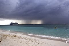 Seven Mile Beach, Cayman islands, Caribbean. Seven Mile Beach before thunderstorm, Cayman islands, Caribbean Royalty Free Stock Photo