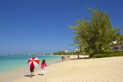 Seven Mile beach in Grand Cayman, Caribbean Stock Photos
