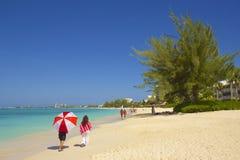 Seven Mile beach in Grand Cayman, Caribbean Stock Photos