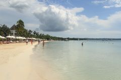Seven mile beach. Jamaica, Negril. Vacation on tropical beach.  Jamaica Island. Caribbean sea Stock Image