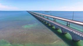 Seven mile bridge aerial view stock video