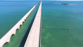 Seven mile bridge aerial view stock footage