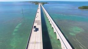 Seven mile bridge aerial view stock video footage