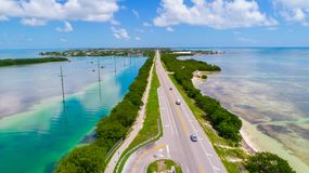 Road to Key West over seas and islands, Florida keys, USA. The Seven Mile Bridge is a bridge in the Florida Keys, in Monroe County, Florida, United States Royalty Free Stock Image