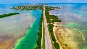 Road to Key West over seas and islands, Florida keys, USA. The Seven Mile Bridge is a bridge in the Florida Keys, in Monroe County, Florida, United States Stock Photo