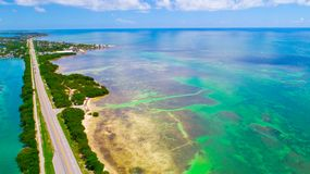 Road to Key West over seas and islands, Florida keys, USA. The Seven Mile Bridge is a bridge in the Florida Keys, in Monroe County, Florida, United States Stock Images