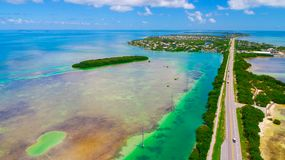 Road to Key West over seas and islands, Florida keys, USA. The Seven Mile Bridge is a bridge in the Florida Keys, in Monroe County, Florida, United States Stock Photography