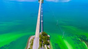 Road to Key West over seas and islands, Florida keys, USA. The Seven Mile Bridge is a bridge in the Florida Keys, in Monroe County, Florida, United States Royalty Free Stock Photography