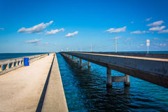 The Seven Mile Bridge, on Overseas Highway in Marathon, Florida. Royalty Free Stock Photos