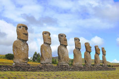 Seven moai platform, Eastern Island, Chile Royalty Free Stock Image