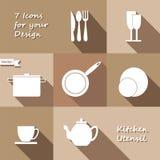Seven monochrome icons of kitchen utensil Stock Image