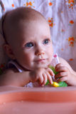 Seven month baby in baby seat Royalty Free Stock Photos
