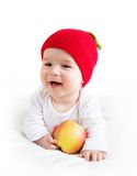 Seven month old baby with apples Royalty Free Stock Photos