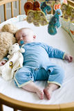 Seven Month Old Baby Boy Sound Asleep In His Crib Stock Image