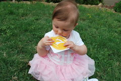 Seven months. Girl examines the sticker sitting on green grass stock photo