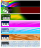 Seven Music Keyboards Retro Headers or Banners Stock Photo