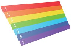 Seven numbered dimensional rainbow. Colored stripes as infographics design element composition to list Royalty Free Stock Photos