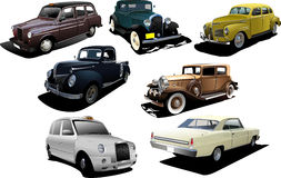 Seven old rarity cars Royalty Free Stock Image
