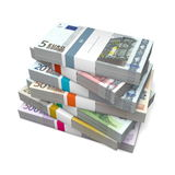 Seven Packets of Euro Notes with Bank Wrapper. Big pile of euro banknotes from five to 500 Euros with wrapper / banderole Royalty Free Stock Images