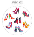 Seven pairs of womens shoes Royalty Free Stock Photography