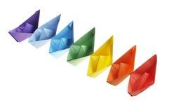 Seven paper ships Stock Photo
