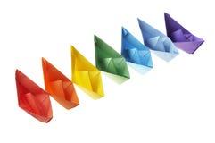Seven paper ships Stock Photos