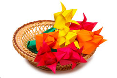 Paper tulips in a basket Royalty Free Stock Photos