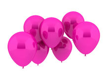 Seven Party Balloons in pink Color. Isolated on white Stock Photos