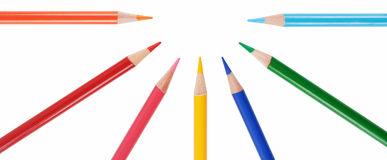 Seven pencils Stock Images